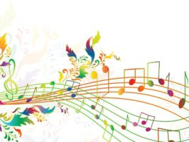 illustration of bright rainbow notes with multicolored floral. Copyspace for your text